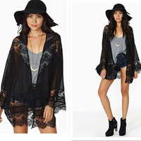 Women Batwing Sleeves Chiffon Blouse Kimono Cardigan Hollow Lace Spliced Coats Tops Casual V-enck Black Feminino Blusas 657246