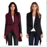 New Women Winter Shawl Jacket Slim Cardigan Lapel Asymmetric Length PU Leather Sleeve Coats Cape Outerwear Belt Fashion ay657260