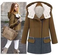 Retail New 2014 Korea Women Hoodies Coat Warm Zip Up Outerwear Sweatshirts Warm Parkas Plus Size M, L, XL and XXL SV19 CB031708