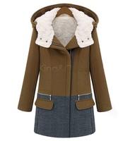 Fashion Jackets Women 2014 Winter Slim Hoody Parkas Patchwork Blazer Casual Female Coats Long Sleeve 4 Size SV19 CB031708