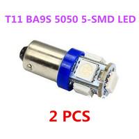 2 PCS T11 BA9S T4W H6W 363 Blue 5 LED 5050 SMD Car Wedge Side Light Lamp Bulb 12V