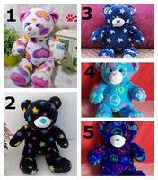 2014 new buid a bear plush toys 40cm heart star print bear toys for children girl&boys Christmas gift stuffed animals kids toys