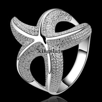 Beautiful Large Starfish 925 Silver Rings New Listing Fashion Jewelry Charm Trend Holiday gifts Free shipping