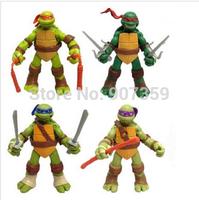 TMNT Teenage Mutant Ninja Turtles Movable PVC Action Figure Toys doll model set of 4pcs Best Gift for Kids by DHL 60sets=240pcs