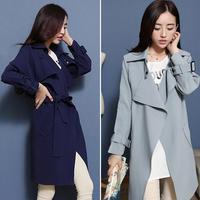 Autumn 2014 Fashion Long Elegant Women Outercoat European Style Lapel Winter Women Jacket Windbreaker
