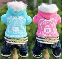 Free shipping crown style pet dog cat autumn and winter dog sport leisure coat jumpsuit clothes clothing  two Colors pink blue