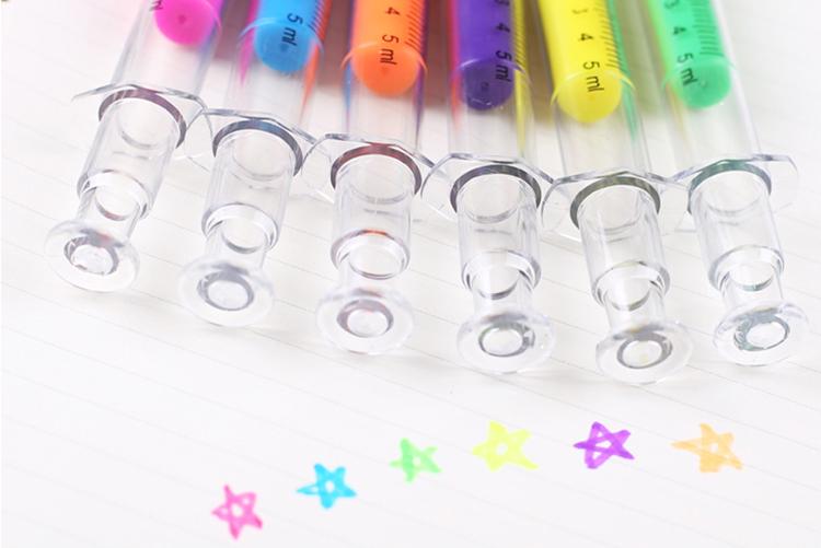 Cute Novelty Nurse Needle Syringe Shaped Highlighter Marker Pen Photo Album Stationery School Supplies Color random HG26(China (Mainland))