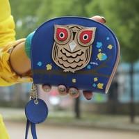 2014 PU Leather Women Wallet Owl Printed Double Ladies Zipper Wallets Christmas Gift Women Purse Brand Fashion SV18 CB031161