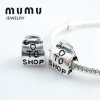 Free Shipping Best Gift for Friends Love To Shop Bag Handbag Beads Charms Bracelets Fit All Brands Charm Bracelet