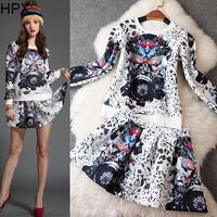Women Fashion Elegant Print Long Sleeve Top + Mini Skirt two pieces Clothing Set,Ladies Brand Twinset 2014 Autumn Winter New