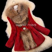 New 2014 Winter Ladies' Natural Rabbit Fur Coat Jacket Raccoon Fur Collar Winter Women Fur Trench Outerwear Coats Plus Size