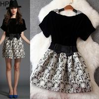 Women Fashion Cute Princess Velvet Patchwork Jacqaurd Floral Tight Pleated Dress,Ladies Brand 2014 Autumn Winter New European