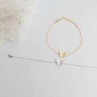 Wholesale 10pcs/lot-2015 Gold/Silver Fine Jewelry Wedding Gift Dainty Cute Butterfly Stainless Steel Bracelet for Women