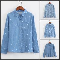 2015 Women Casual Jeans Shirt Blusas Feminina Heart Star Lips Cat Printed Lady Denim Blouse Plus Size Women Tops Shirts Camisas