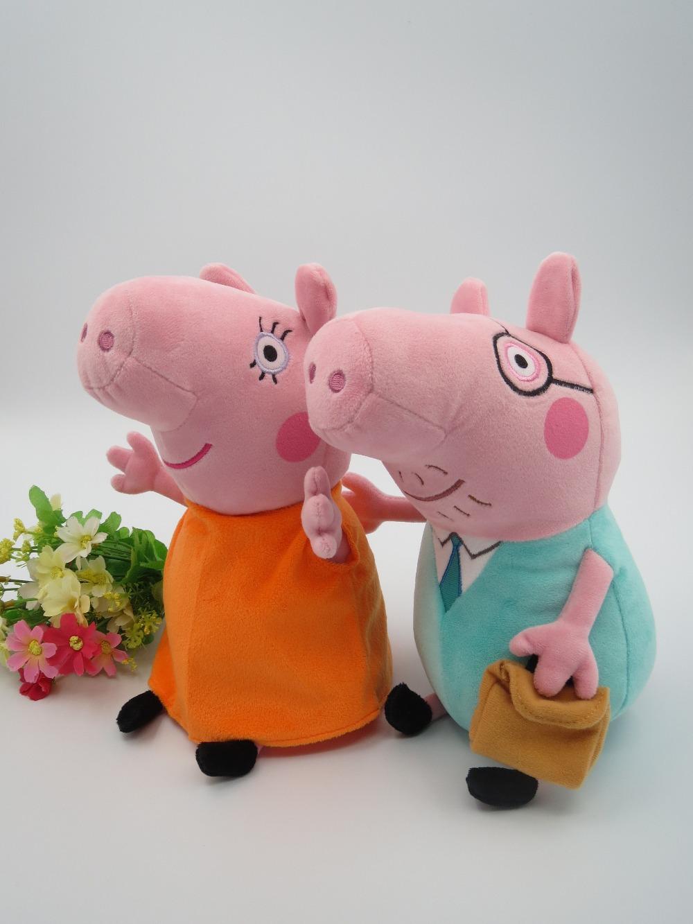 Frete grátis 2pcs Varejo / set 12 polegadas 30CM Peppa porco de pelúcia Pepa Pig Brinquedos Mamãe & Papai Tamanho Grande Drop Shipping(China (Mainland))