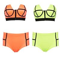 Fashoin neoprene swimsuit ladies cross chest Push Up Bikini