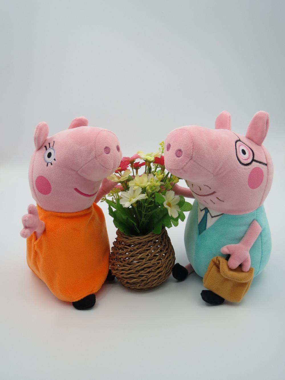 100pcs EMS Livre / set 12 polegadas 30CM Peppa porco de pelúcia Pepa Pig Bebê Brinquedos Mamãe & Papai Tamanho Grande Drop Shipping(China (Mainland))