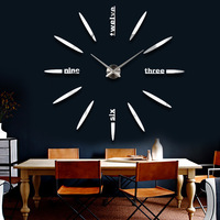 Large 20 inch wall clock DIY wall clock creative clock mirror wall stickers clock Metal  acrylic markers