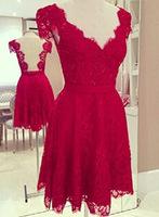 2014 Women Sexy Fashion Evening Party Dress Red V-neck Backless Lace Short Vestidos Prom Dress vestido de festa curto PD0156