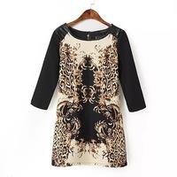 Women Baroque Leopard Print 3/4 Sleeve Faux Leather Splice Mini autumn spring wingter Dress vestido One-piece black color S M L