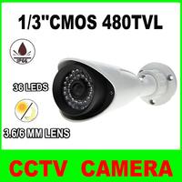 1/3''CMOS/480TVL/36 IR LEDs 3.6/6mm fixed lens Waterproof CCTV Outdoor Bullet Security Camera with bracket