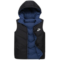 Hot! NIKE 2014 Autumn Winter Casual Hooded Vest Men High Quality Cotton-padded Waistcoat Men vest XL-4XL