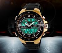 2014 new men unisex military GOLDEN watch sports watches, dual time digital quartz business watch