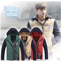 Winter New Coat Men Jacket Hooded Plus Velvet thick Padded Jackets Coat Man Outdoor Large size 3XL Men Jacket Clothing Parkas