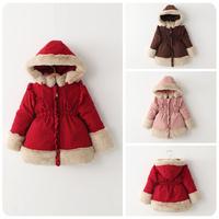 2014 autumn and winter slim waist roll up princess hem thickening wadded jacket cotton-padded jacket girls coat 103105