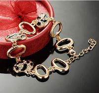 New Fashion Women Charm Bracelet Jewelry Crystal White Black Zebra Gold Silver Hollow Alloy Metal Chain Bracelets FB0258