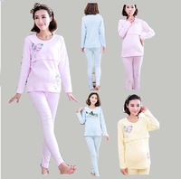Maternity Clothes Sleep Breast Feeding Dress Cotton Pregnant Pajamas Thermal Sets Shirt+ Pants Tracksuit For Winter Autumn A30ag