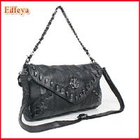 2015 Hot Fashion Skull Bag Rivet Small Bag Cross-Body Bag Black Portable Women's Handbag