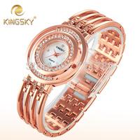 2014 New Diamond Rhinestone Luxury Watch Women Dress Watch Ladies Rose Gold Bracelet Wristwatch Kingsky Women's Fashion Watches