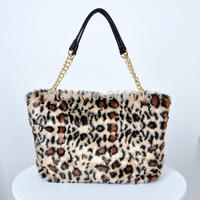 Women's Elegant Faux Horse Hair Fur Handbags,Fashion Winter Large Tote,Famous Brand Tiger Leopard Messenger Shoulder Bag,SJ098