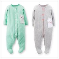 Carters Baby Girls Sleeperwear,Carters Original 100% Cotton Warm for Cold Night,Baby Smile Fox Printed Sleeperwear,Freeshipping