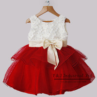 2014 Retail Girls Christmas Dress White And Red Girl Flower Princess Party Dresses With Bow Children Clothes For 1-5Y Girl Dress