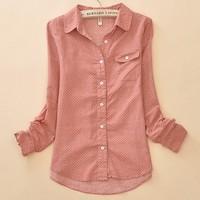 2015 spring Autumn 100% cotton high quality long-sleeved shirt female Korean doll collar dot shirts blouse Women fashion Shirts