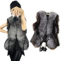 11.11 Sales!50% off 2014 New Fox Faux Fur PU Patchwork Vest Design Fur Collar Short Women Outerwear Large Plus Size Coat  Jacket