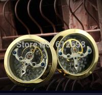 New Fashion Titanium Steel Real 18K Gold Plated Moved Tourbillon Inside Cufflinks,Amazing Men Cuff Links