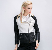Free Shipping 2014 New creative  Woolen stitching PU female Slim hit color black and white motorcycle jacket with lapel thick