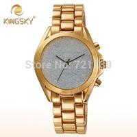 Unique Fashion Relogio Feminino Gold Watch Women Steel Bracelet Casual Watch Brand New Quartz Clock Kingsky Tag Women Wristwatch