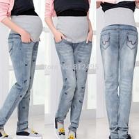 M-XXXXL elastic waist Pregnant women jean new maternity autumn large code white washed jeans wholesale