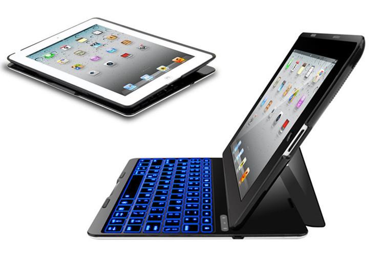 New Portable Ultra LED Back Light Aluminum Bluetooth 3.0 Wireless Keyboard & Case for Tablet Apple iPad 2 3 4(China (Mainland))