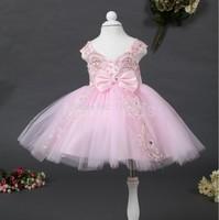 wholesale 2014 new Waist Chiffon Dress Girls Toddler Flower Tutu Layered Princess Party Bow Kids Formal Dress free shipping TY-B