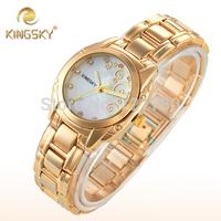 New 2014 Kingsky Vintage Relogio Feminino Diamond Hour Quartz Clock Women Casual Dress Watch Fashion Rose Gold Ladies Wristwatch