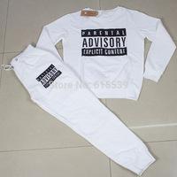 Fashion Parental Advisory Explicit Content Sweatshirt Sportswear Sport Suit Sweatsuit Sets Tracksuits Women Black/White Costume