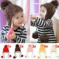 2014 New Baby Caps Hemp Pattern Knitting Children's Lovely Warm Hats Wool Beanies Cap Ear Protect Winter Hat