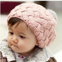 2014 Kids Girls Baby Handmade Crochet Knitting Beret Hat Cap Cute Warm Beanie 4 Colors
