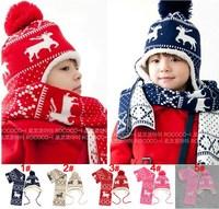 Hot SALE 2014 Winter Sweet Girls Boys Hats Children's Hat Deer Velvet Earlap Caps Babies Sets Christmas Beanie