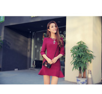 mystery 2014 spring and autumn clothing of new flounce dress slim package hip fishtail dress Han Banchao in South Korea